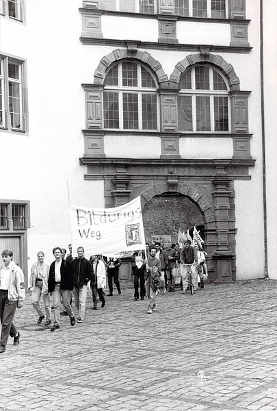 Demonstration im Schloss